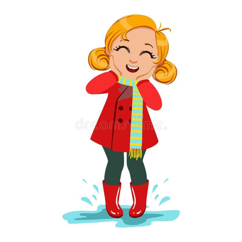Flicka i rött lag och gummistöveler, unge i Autumn Clothes In Fall Season Enjoyingn regn och regnigt väder, färgstänk och vektor illustrationer
