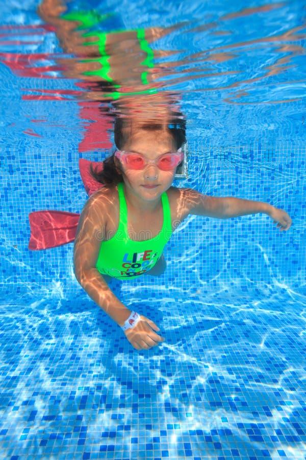 Flicka i simbassäng royaltyfri bild