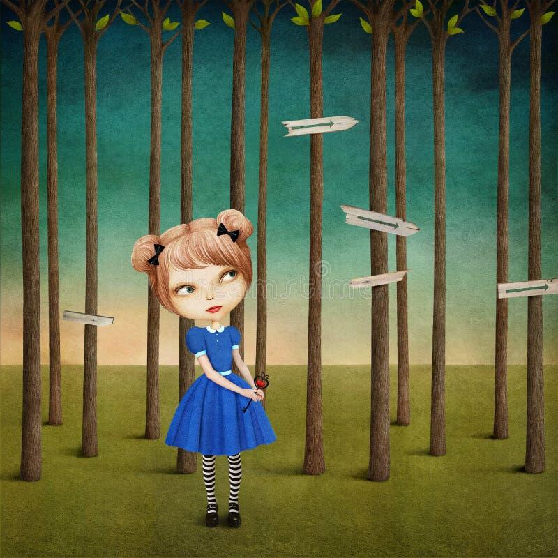 Flicka i skogen stock illustrationer
