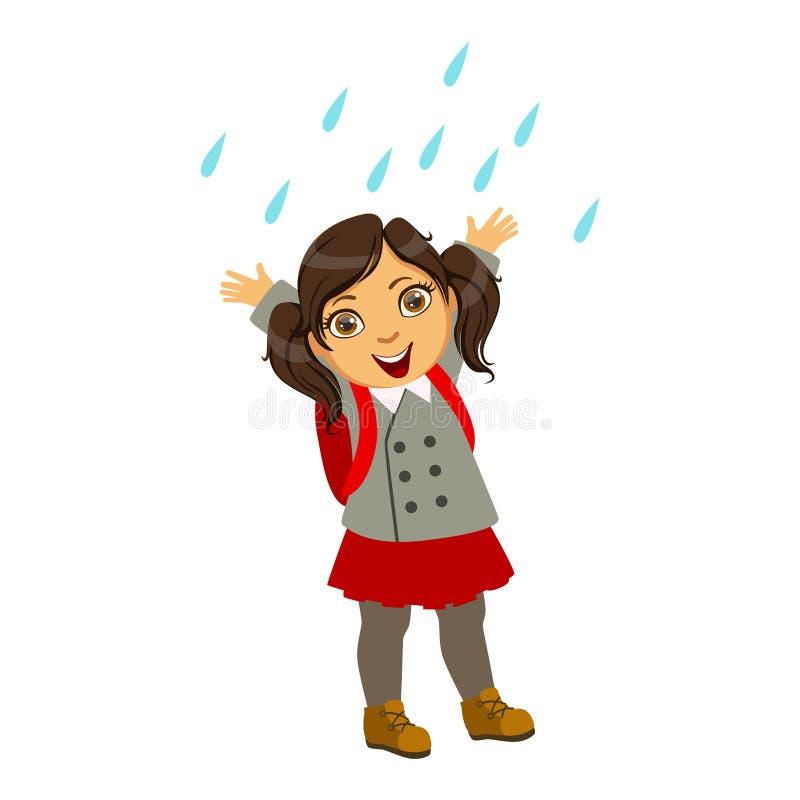 Flicka i skolalikformig, unge i Autumn Clothes In Fall Season Enjoyingn regn och regnigt väder, färgstänk och pölar vektor illustrationer