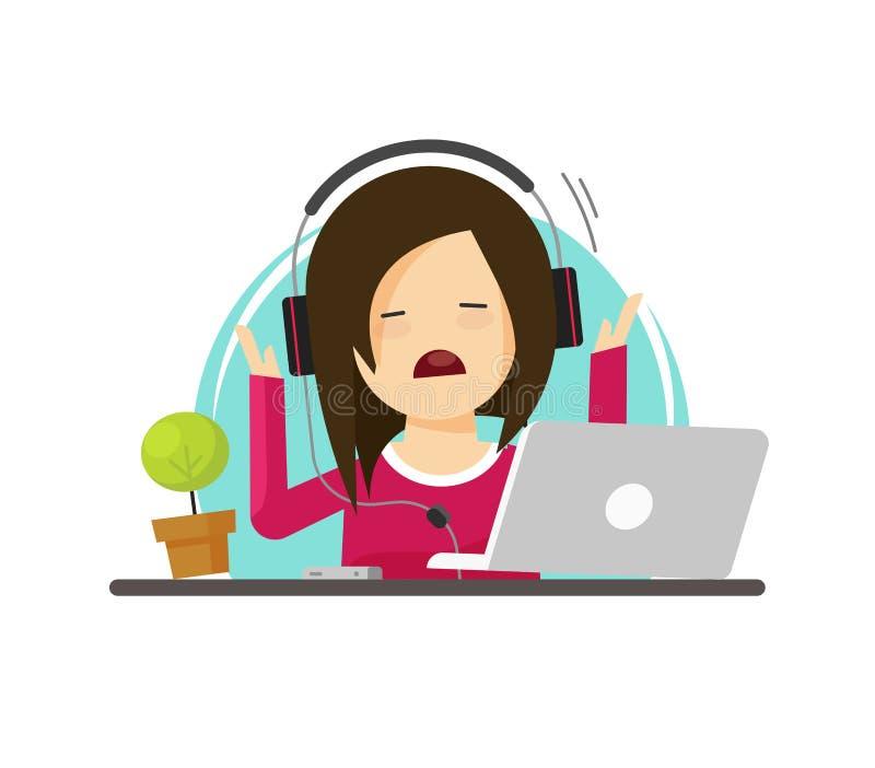 Flicka i spänning, medan arbeta på bärbar datorvektorillustrationen, stressat kvinnasammanträde för plan tecknad film på arbetsta stock illustrationer