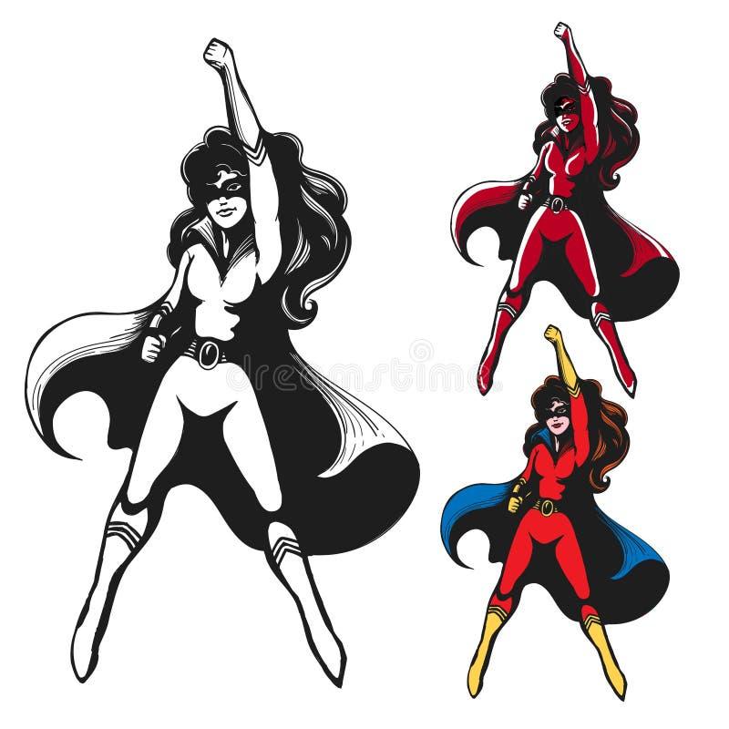 Flicka i superherodräkt royaltyfri illustrationer