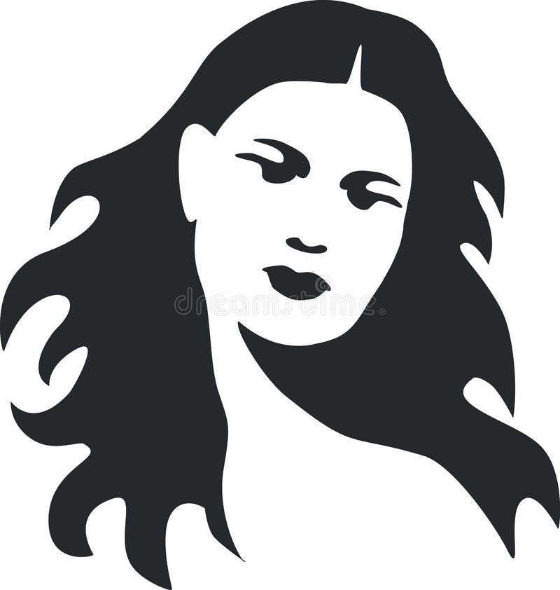Flicka i svart 08 vektor illustrationer