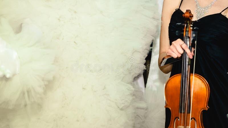 Flicka i svart kl?nning med remmar med den bruna fiolen arkivfoto
