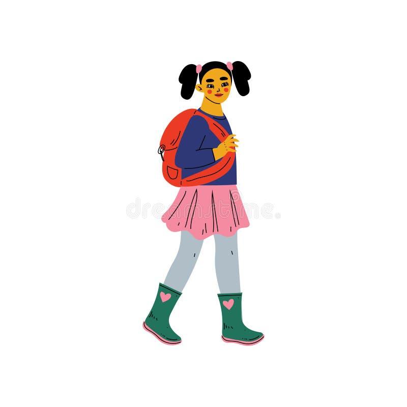 Flicka i tillfällig kläder som går för att skola med ryggsäcken, primär student, illustration för grundskolaelevvektor royaltyfri illustrationer