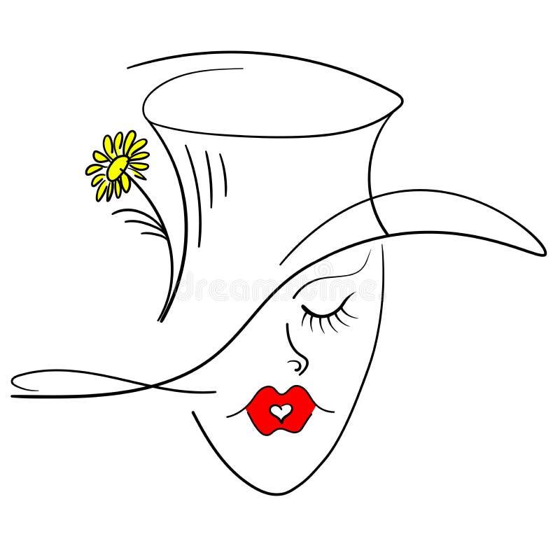 Flicka i tselintrablommakyss i formen av en hjärta vektor royaltyfri bild
