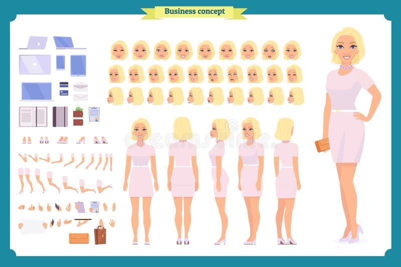 Flicka i uppsättning för skapelse för tecken för aftonklänning Partikvinna i svart moderiktig lyxig kappa Full längd Design vektor illustrationer
