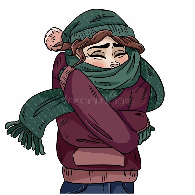 Flicka i varm hemtrevlig halsduk Vektor hand-dragen färgillustration stock illustrationer