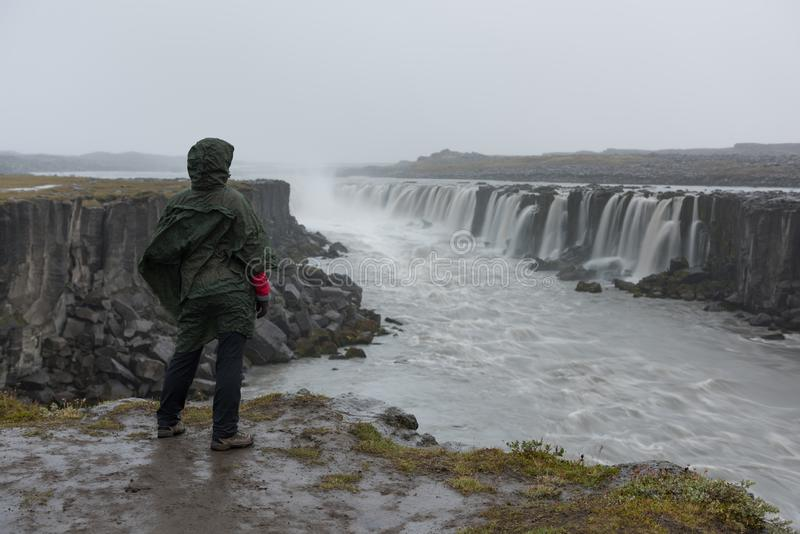Flicka i vattentäta omslagsställningar på klippan på bakgrund av vattenfallet i Island royaltyfria foton