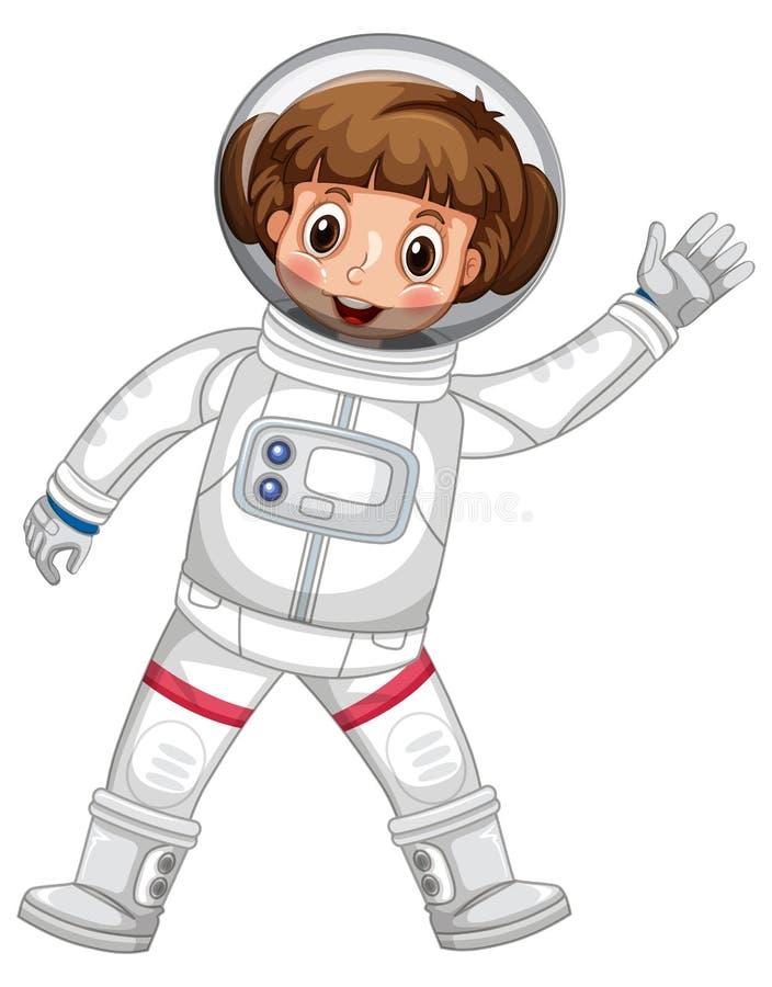 Flicka i vinkande hand för astronautdräkt vektor illustrationer