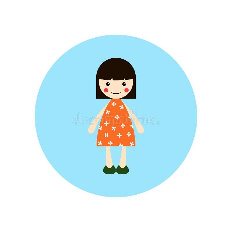 Flicka illustration för kort hår, plan illustration för livlig tecknad film vektor illustrationer
