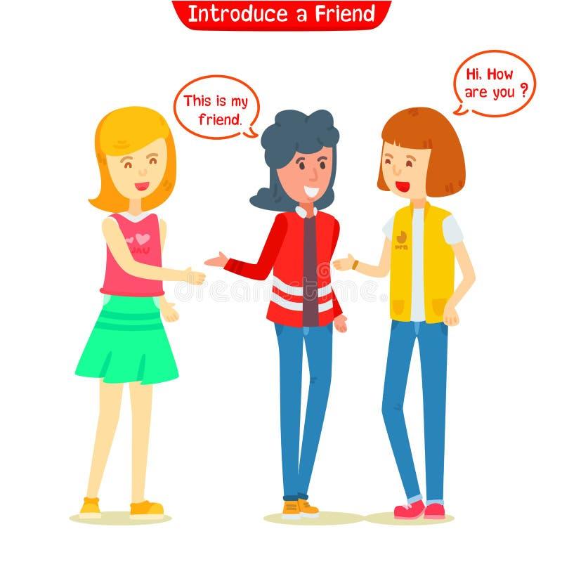 Flicka introducerad ny vän till hennes vän arkivfoton