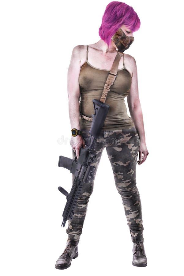 flicka isolerad militär white royaltyfri bild