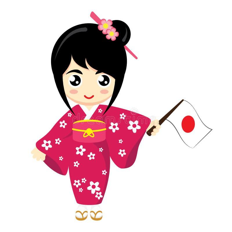 Flicka Japan stock illustrationer