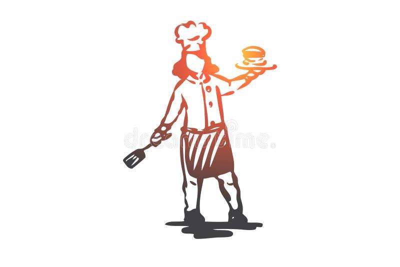 Flicka kock, pannkakor, kökmatbegrepp Hand dragen isolerad vektor vektor illustrationer