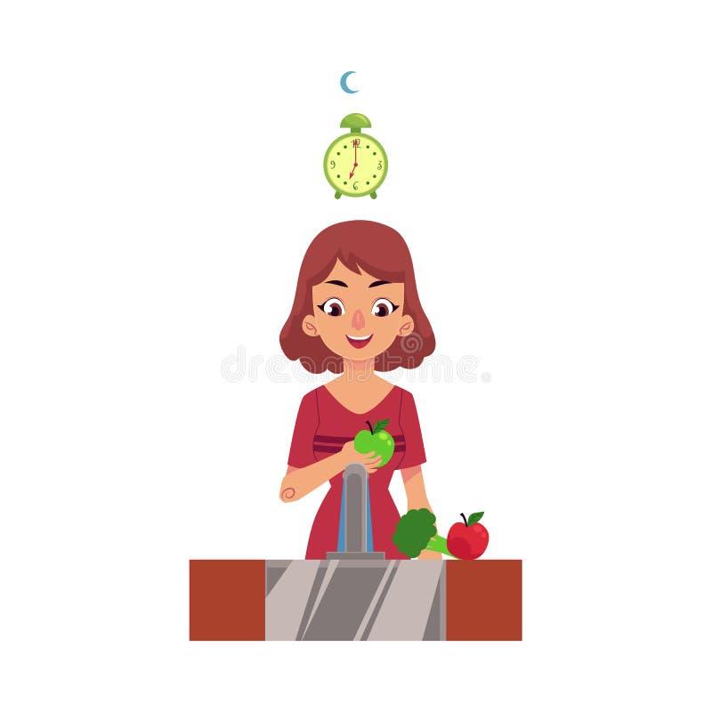 Flicka kvinna, tvagning och ätaäpple, hälsovård royaltyfri illustrationer