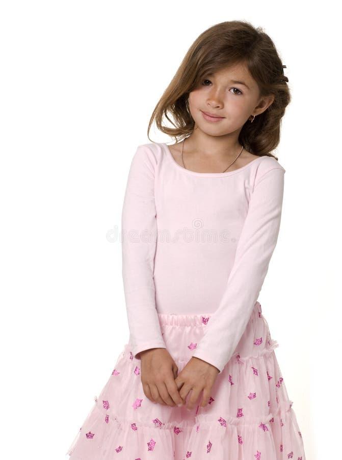 flicka little nätt pink fotografering för bildbyråer