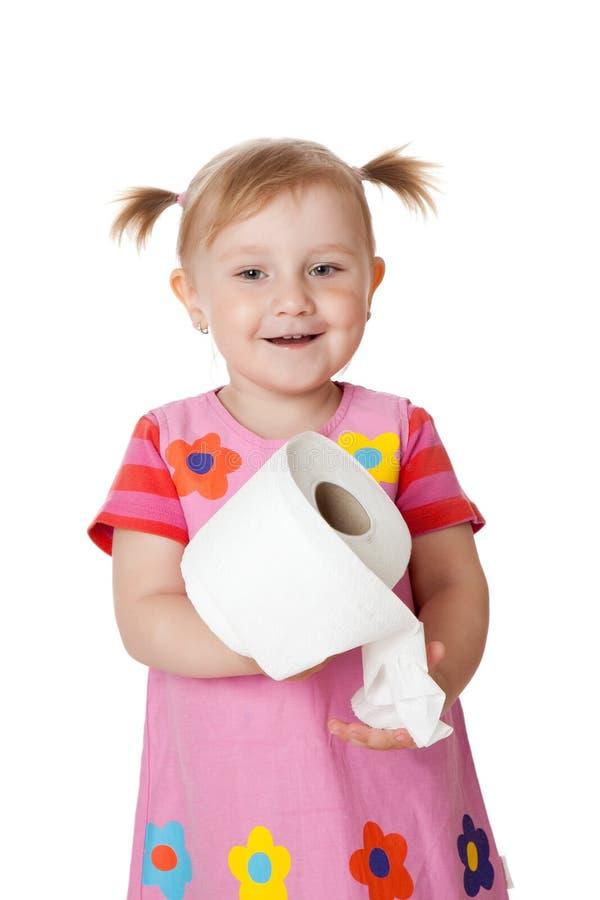flicka little paper toalett arkivfoto