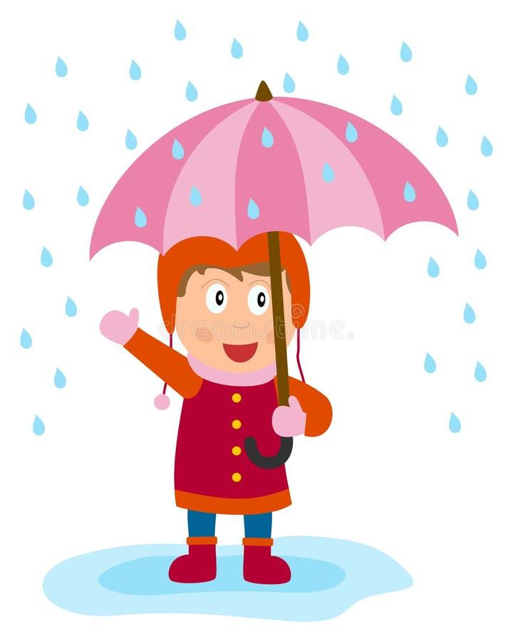 flicka little paraply stock illustrationer