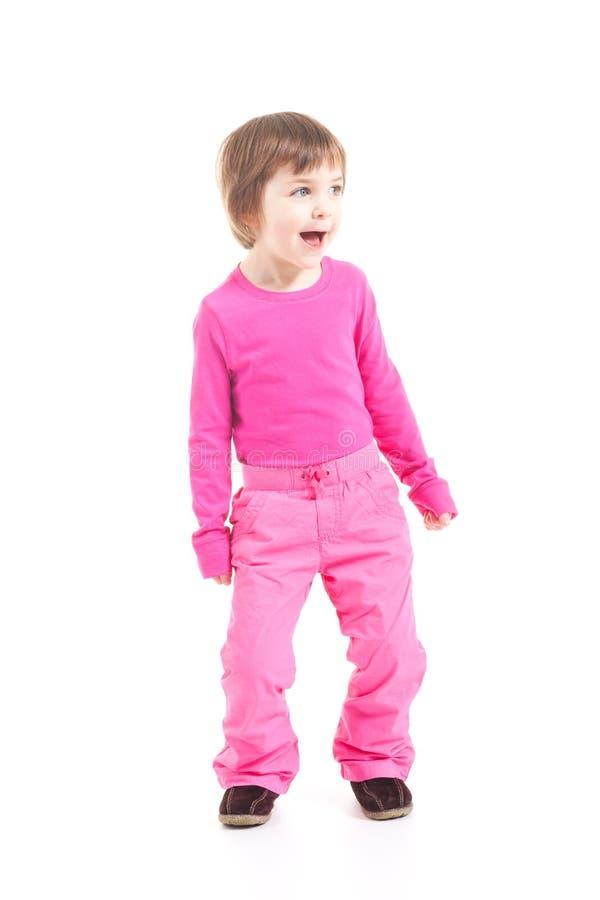 flicka little pink arkivfoton
