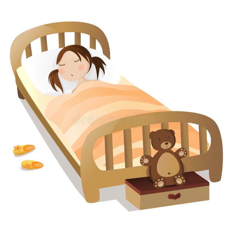 flicka little sömn vektor illustrationer