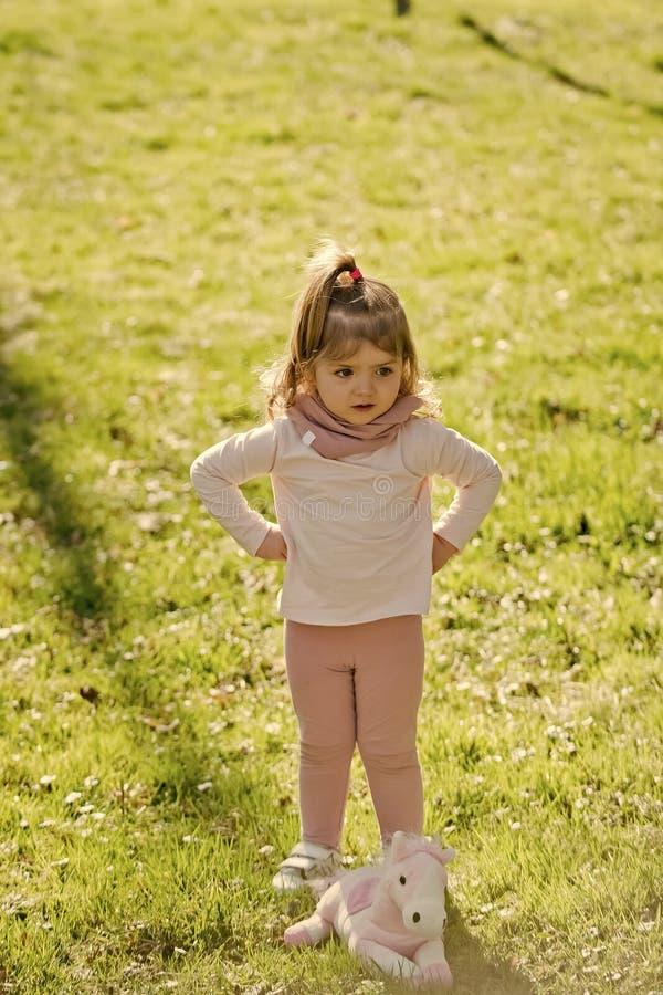flicka little som är allvarlig Barnflickalek med hästleksaken på grönt gräs fotografering för bildbyråer