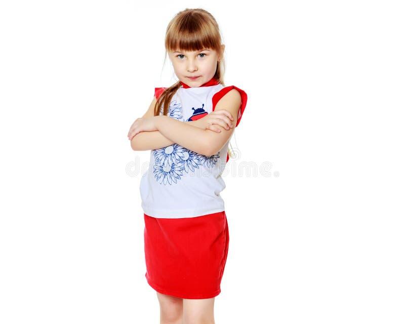 flicka little som ?r SAD fotografering för bildbyråer