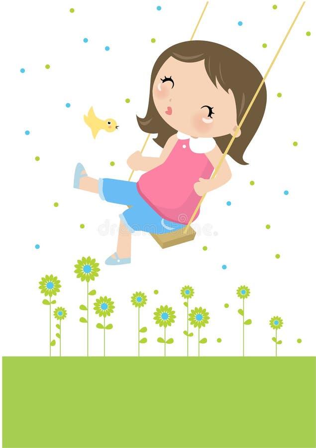 flicka little swing vektor illustrationer