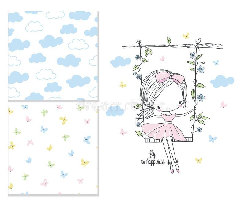 flicka little swing Barnkammarevektorillustration royaltyfri illustrationer
