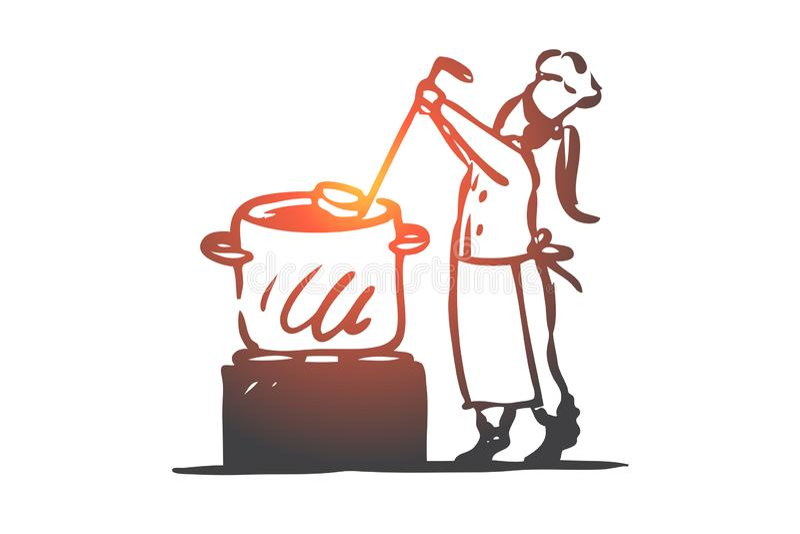 Flicka matlagning, soppa, panna, kockbegrepp Hand dragen isolerad vektor royaltyfri illustrationer