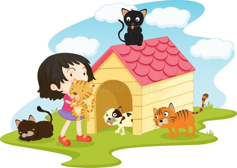 Flicka med älsklings- katter royaltyfri illustrationer