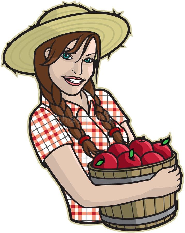 Flicka med äpplen stock illustrationer