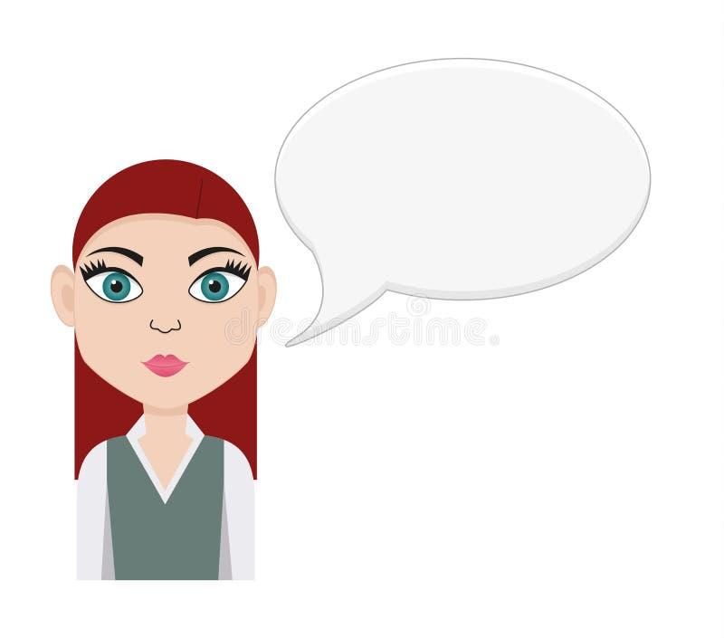 Flicka med anförandebubblan stock illustrationer