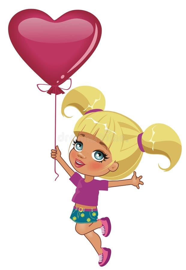 Flicka med ballongen stock illustrationer