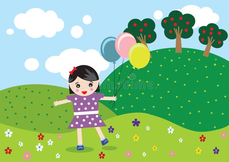Flicka med ballongen royaltyfri illustrationer