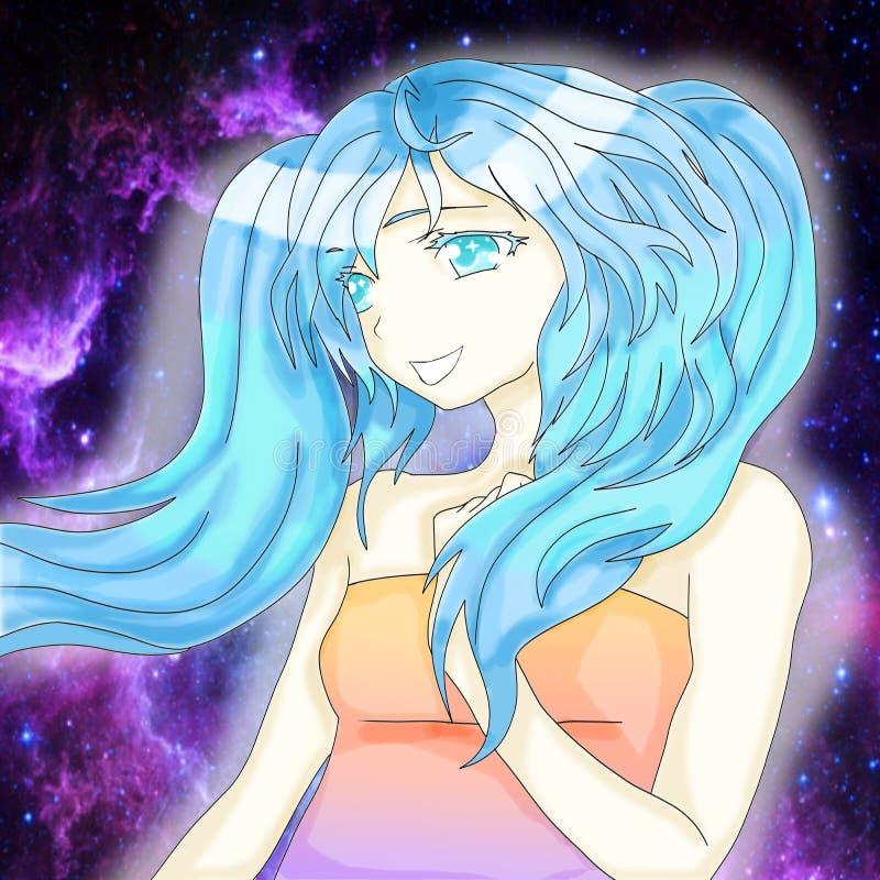 Flicka med blått hår och blåa ögon på en kosmisk bakgrund vektor illustrationer