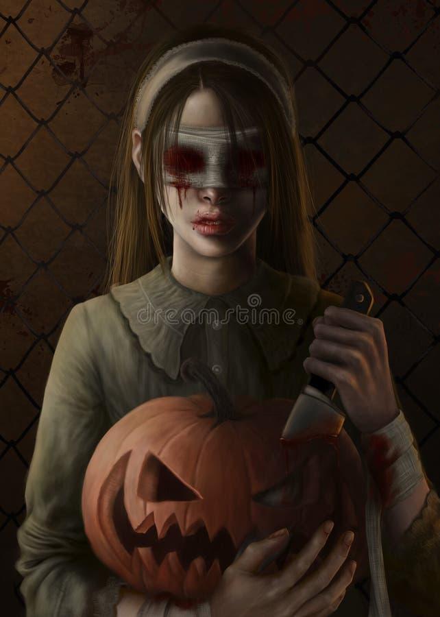 Flicka med blodiga ?gon och pumpa royaltyfri illustrationer