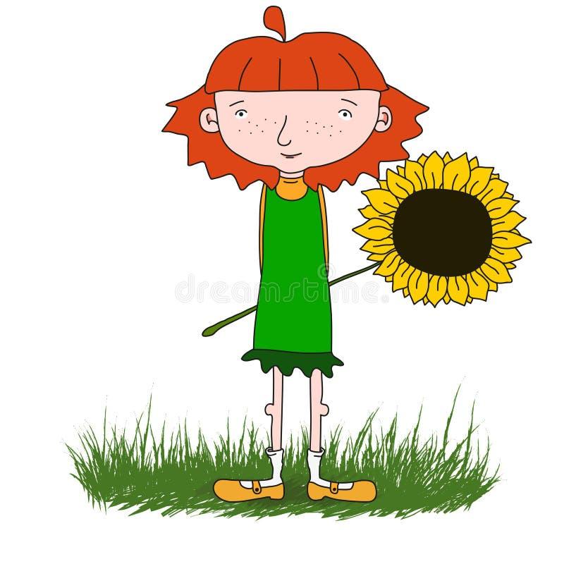 Flicka med blomman royaltyfria foton