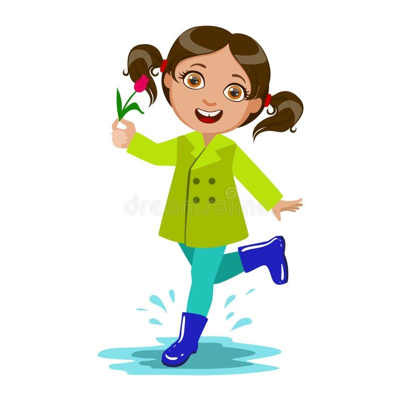 Flicka med blomman, ungen i Autumn Clothes In Fall Season Enjoyingn regn och regnigt väder, färgstänk och pölar stock illustrationer