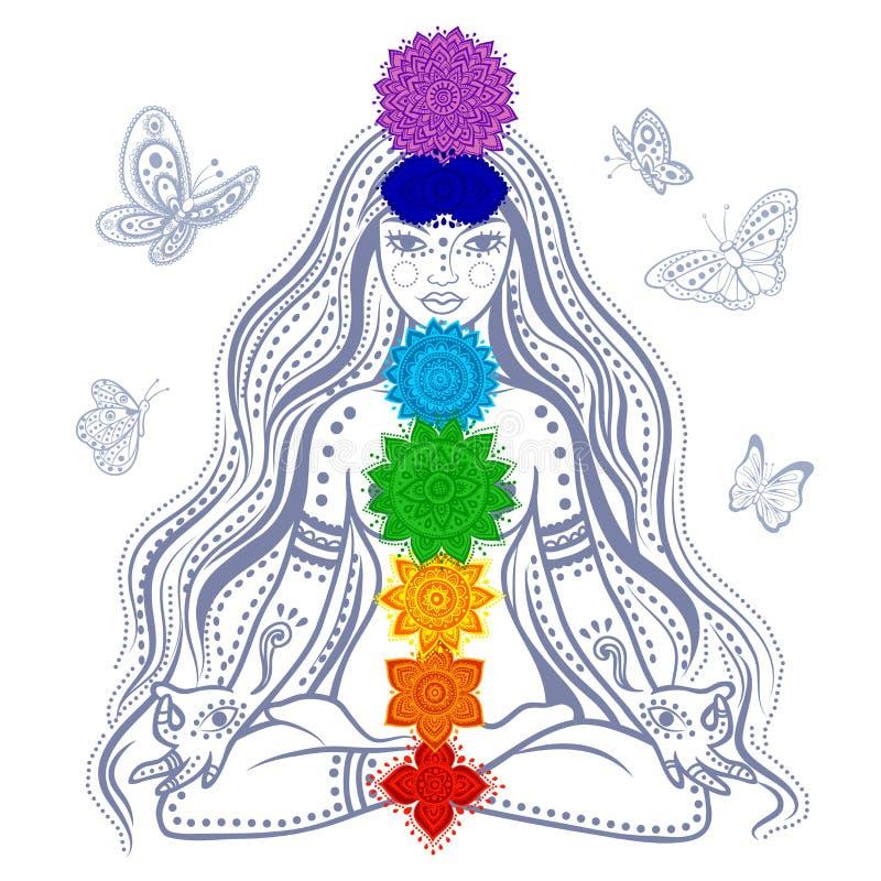 Flicka med 7 chakras stock illustrationer