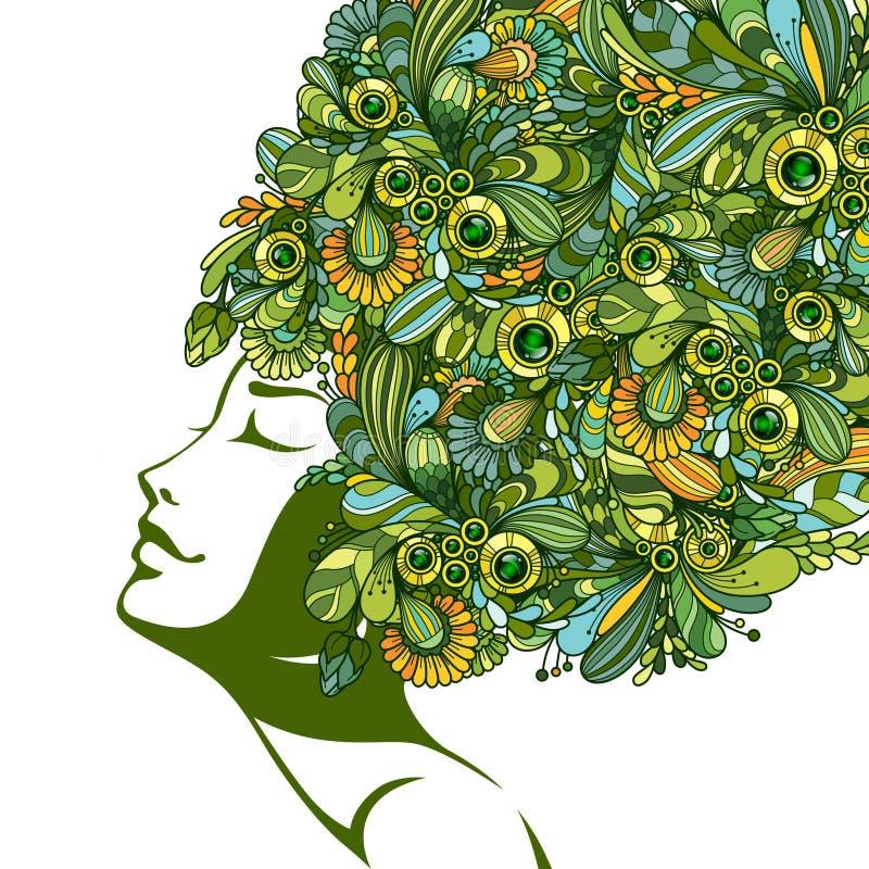 Flicka med dekorativa beståndsdelar för färgklotter i hår stock illustrationer