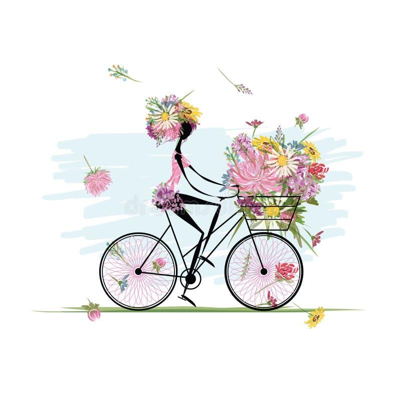Flicka med den blom- buketten, i att cykla för korg royaltyfri illustrationer
