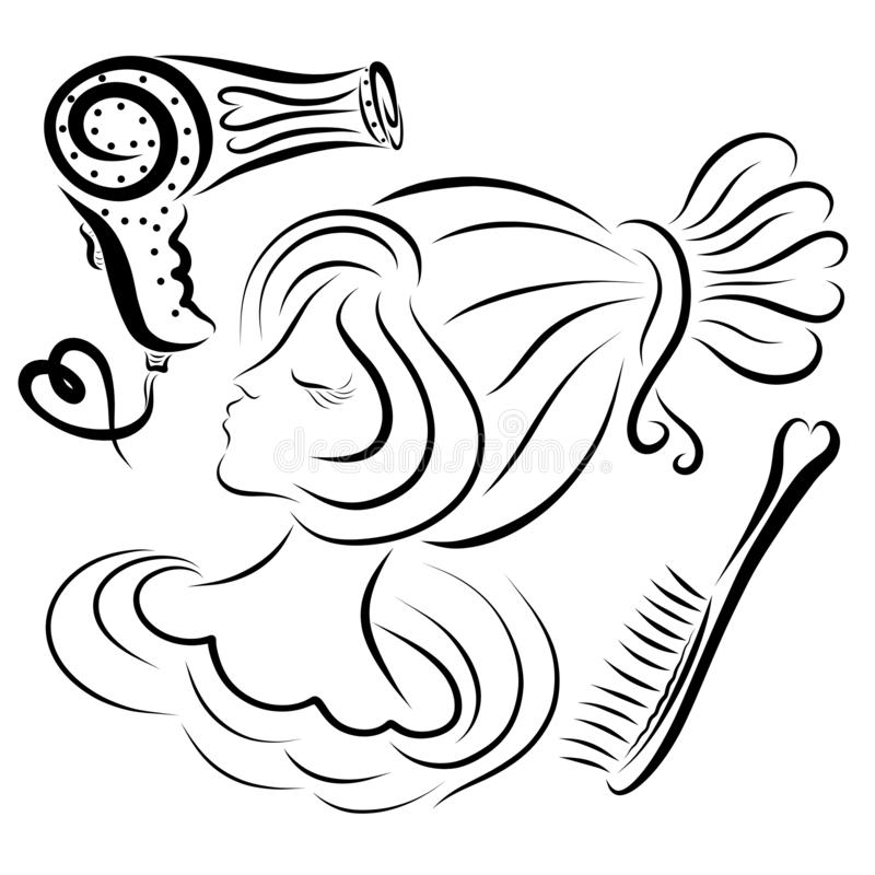 Flicka med den chic frisyr-, hårborste- och hårtorken stock illustrationer