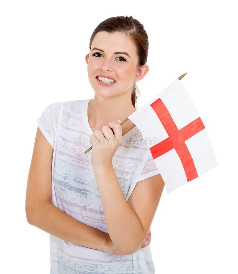 Flicka med den England flaggan royaltyfria bilder