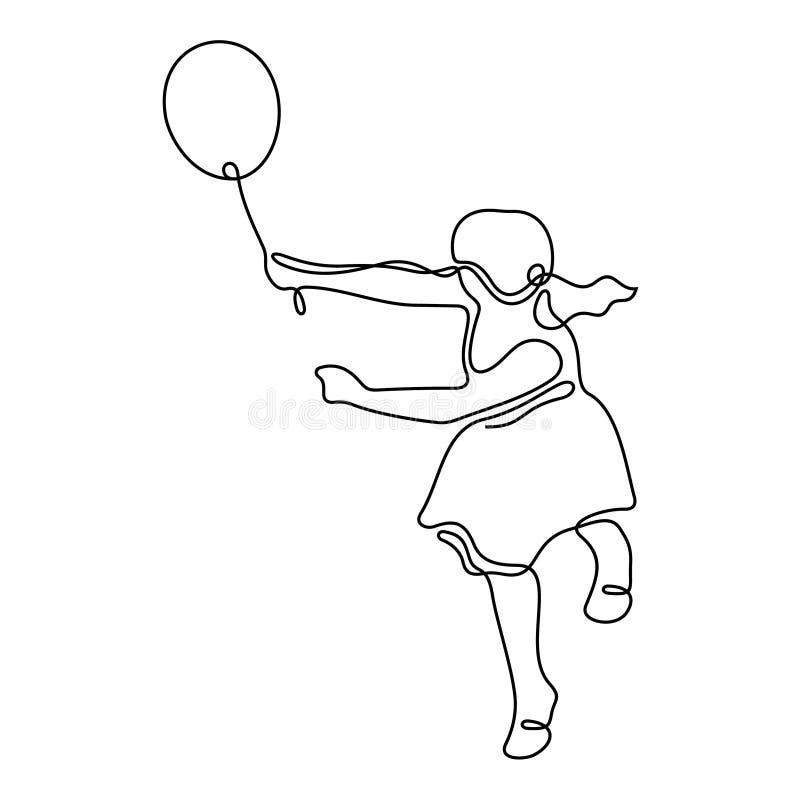 Flicka med den fortlöpande linjen vektorillustration för luftballong vektor illustrationer