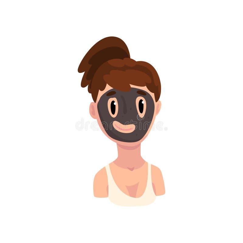Flicka med den kosmetiska svarta maskeringen på hennes framsida, ung flicka som behandlar hennes hud från aknevektorillustration  royaltyfri illustrationer