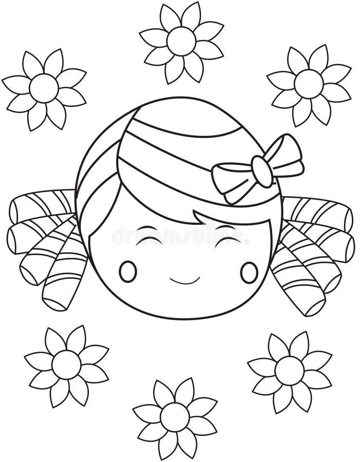 Flicka med den lyckliga framsidan royaltyfri illustrationer