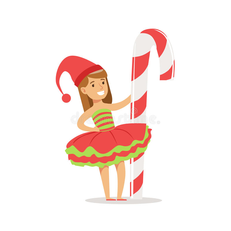 Flicka med det jätte- partiet för karneval för ferie för godisCane Stick Dressed As Santa Claus Christmas Elf For The dräkt royaltyfri illustrationer