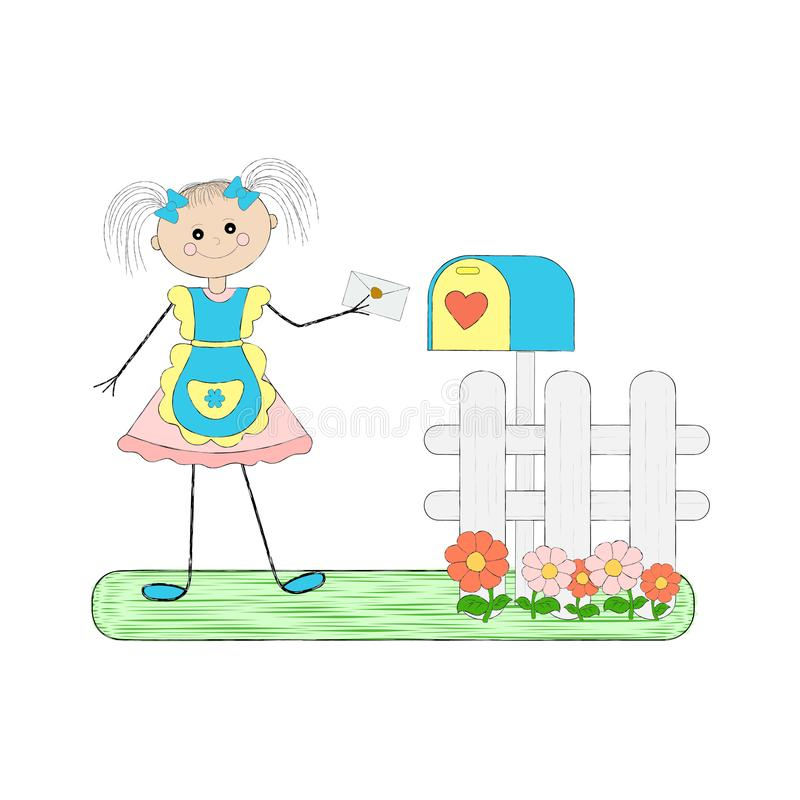 Flicka med en bokstav stock illustrationer