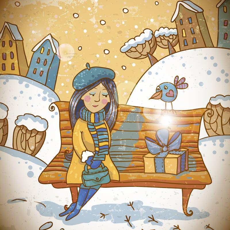 Flicka med en gåva på vinterbakgrund vektor illustrationer